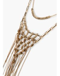 Mango - Metallic Double Chain Necklace - Lyst