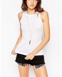 ASOS - White Sleeveless Plunge Neck Top - Cream - Lyst