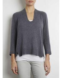 INHABIT | Gray Feather Weight Cashmere U-neck | Lyst