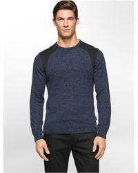 Calvin Klein - Black White Label Ponte Knit Crewneck Sweater for Men - Lyst