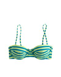 J.Crew | Green Striped Underwire Bikini Top | Lyst