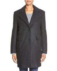 DKNY | Black Boucle Reefer Coat | Lyst