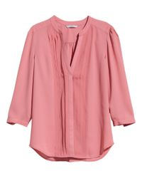 H&M - Pink Blouse With Pin-Tucks - Lyst