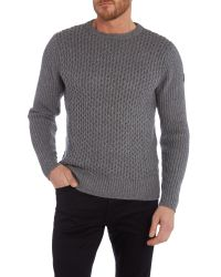 Duck and Cover | Gray Clinton Crew Neck Cable Knitwear for Men | Lyst