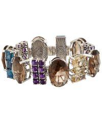 Stephen Dweck | Metallic Silver Quartz Amethyst And Topaz Oval Multi-stone Bracelet | Lyst