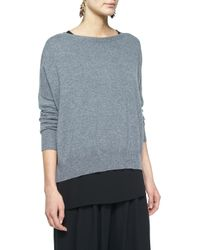 Eileen Fisher - Gray Fine-gauge Cashmere Box Top - Lyst