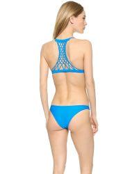 Mikoh Swimwear | Blue Maui Racer Back Bikini Top - Night | Lyst