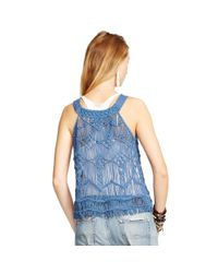 Denim & Supply Ralph Lauren | Blue Fringed Macramé Tank | Lyst