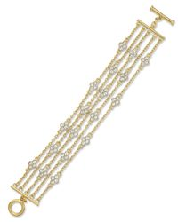 Lauren by Ralph Lauren | Metallic Gold-Tone Crystal Multi-Row Chain Bracelet | Lyst