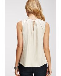 Forever 21 - Natural Pleated Satin Top - Lyst