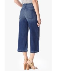 7 For All Mankind | Blue Culotte With Let Down Hem In Medium Broken Twill | Lyst