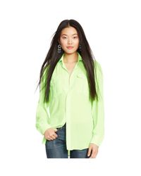 Polo Ralph Lauren | Green Crepe Long-sleeved Blouse | Lyst