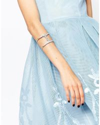 Lipsy | Metallic Crystal Micro Pave Cuff Bracelet | Lyst