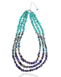 Lord & Taylor | Blue Tri-stand Beaded Necklace | Lyst