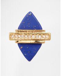 Rachel Roy - Metallic Semi Precious Lapis Diamond Ring - Lyst