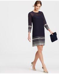 Ann Taylor - Blue Sheer Beaded Dress - Lyst