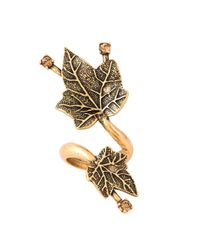 Oscar de la Renta - Metallic Ivy Leaves Ring - Lyst