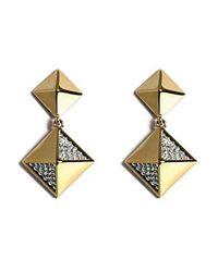 Noir Jewelry - Metallic Diamond Pyramid Stud W/ Dangling Pyramid Earring - Lyst
