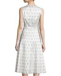 Michael Kors - White Sleeveless Embellished-paisley Dance Dress - Lyst