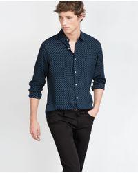 Zara   Blue Printed Shirt for Men   Lyst