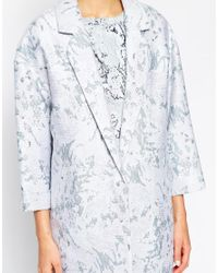 Oasis - Multicolor Marble Jacquard Coat - Lyst