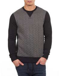 William Rast | Gray Quilted Contrast Sweater for Men | Lyst