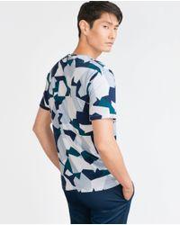 Zara | Blue Geometric Military T-shirt for Men | Lyst