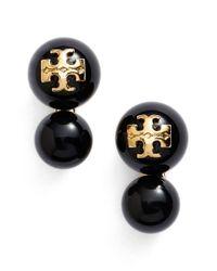 Tory Burch - Black 'evie' Faux Pearl Logo Stud Earrings - Lyst