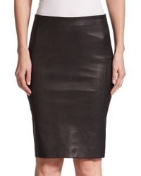Vince - Black Leather Pencil Skirt - Lyst