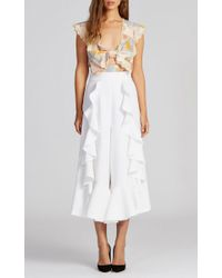 Alice McCALL Red The Garden Silk Printed Crop Top