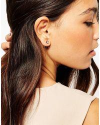 Pieces | Gray Crystal Swing Earrings | Lyst
