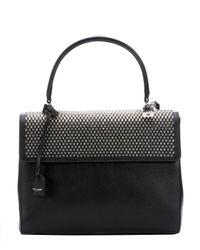 Saint Laurent - Black Leather Studded Medium 'moujik' Convertible Top Handle Bag - Lyst