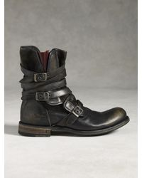 John Varvatos Engineer Triple Buckle Boot In Gray For Men