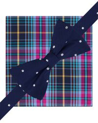 Tommy Hilfiger | Blue Dot And Plaid Pre-tied Bow Tie And Pocket Square Set for Men | Lyst