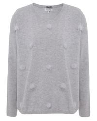 Cocoa Cashmere Gray Pom Pom Rib Sleeve Sweater