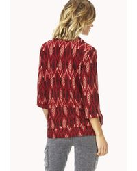 Forever 21 | Red Eclectic Ikat Woven Cardigan | Lyst