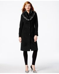 Jones New York | Black Faux-fur-collar Maxi Walker Coat | Lyst
