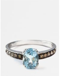 Effy | Blue 14 Kt. White Gold Aqua And Diamond Ring 0.17 Ct. T.w. | Lyst