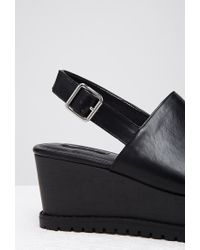 Forever 21 | Black Faux Leather Slingback Flatforms | Lyst
