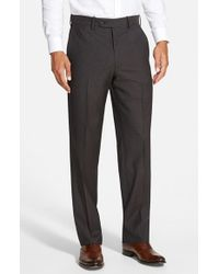 JB Britches | Gray 'torino' Flat Front Check Trousers for Men | Lyst
