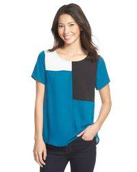 Pleione | Black Short Sleeve Colorblock Top | Lyst