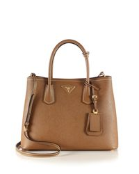 Prada | Brown Saffiano Cuir Small Double Bag | Lyst