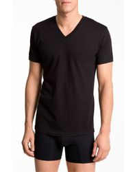 Calvin Klein | Black Basic V-neck T-shirt, (2-pack) for Men | Lyst