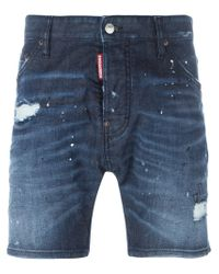 DSquared² - Blue Denim Shorts - Lyst