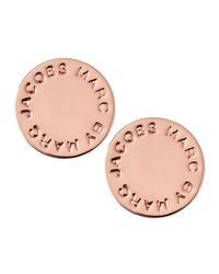Marc By Marc Jacobs - Pink Logo Disc Stud Earrings - Lyst