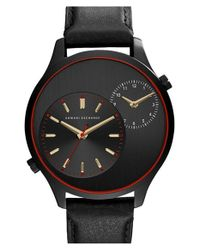 Armani Exchange - Black Dual Time Leather Strap Watch for Men - Lyst