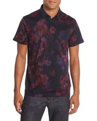 e1192a669d1abf Lyst - Ted Baker Modern Slim Fit Floral Print Pique Polo in Purple ...