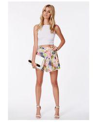 Missguided - Multicolor Juanda Tropical Print Skater Skirt - Lyst