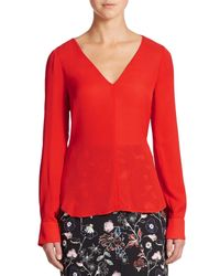 A.L.C. | Red Cleary Silk Cutout-back Top | Lyst