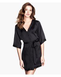 H&M - Black Satin Kimono - Lyst